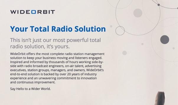 WideOrbit Total Radio Solution Brochure