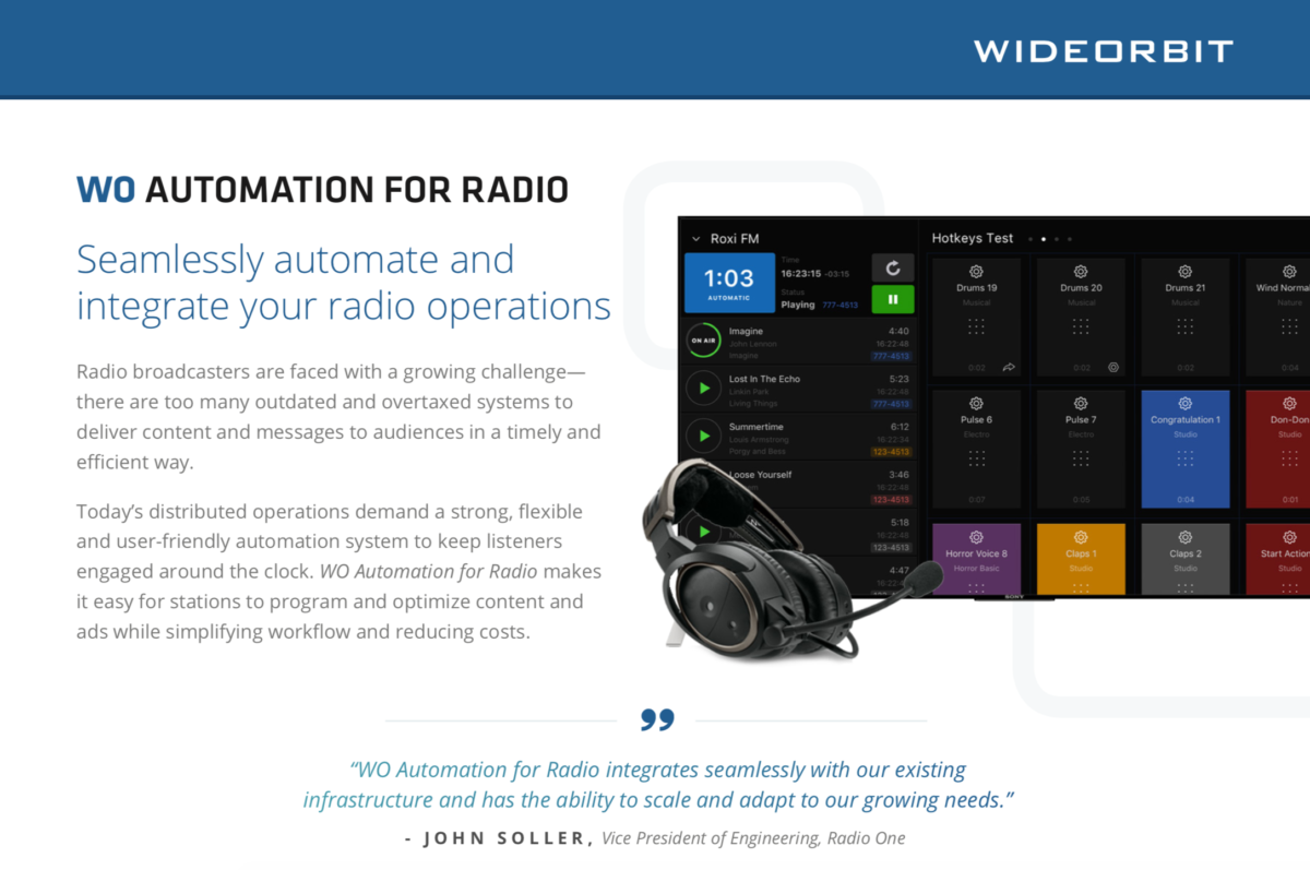 WO Automation For Radio (AFR) - WideOrbit Inc