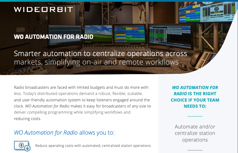 WideOrbit Automation for Radio - Radio Automation Software