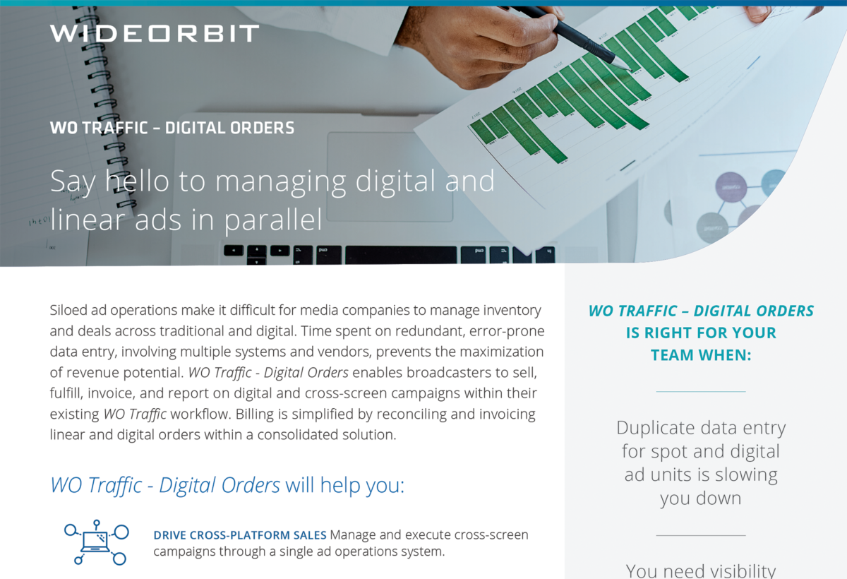 WideOrbit Traffic Digital Orders Product Overview